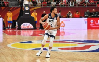 BEIJING, CHINA - SEPTEMBER 14: Derrick White #4 of USA handles the ball against Poland during the 2019 FIBA World Cup Classification 7-8 on September 14, 2019 at the Cadillac Arena in Beijing, China. NOTE TO USER: User expressly acknowledges and agrees that, by downloading and/or using this photograph, user is consenting to the terms and conditions of the Getty Images License Agreement. Mandatory Copyright Notice: Copyright 2019 NBAE (Photo by Jesse D. Garrabrant/NBAE via Getty Images)