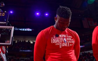 HOUSTON, TX - FEBRUARY 2: Zion Williamson #1 of the New Orleans Pelicans stands for the National Anthem before the game against the Houston Rockets on February 2, 2020 at the Toyota Center in Houston, Texas. NOTE TO USER: User expressly acknowledges and agrees that, by downloading and or using this photograph, User is consenting to the terms and conditions of the Getty Images License Agreement. Mandatory Copyright Notice: Copyright 2020 NBAE (Photo by Cato Cataldo/NBAE via Getty Images)