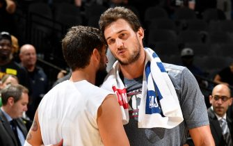 SAN ANTONIO, TX - NOVEMBER 7: Marco Belinelli #18 of the San Antonio Spurs hugs Danilo Gallinari #8 of the Oklahoma City Thunder after the game on November 7, 2019 at the AT&T Center in San Antonio, Texas. NOTE TO USER: User expressly acknowledges and agrees that, by downloading and or using this photograph, user is consenting to the terms and conditions of the Getty Images License Agreement. Mandatory Copyright Notice: Copyright 2019 NBAE (Photos by Logan Riely/NBAE via Getty Images)