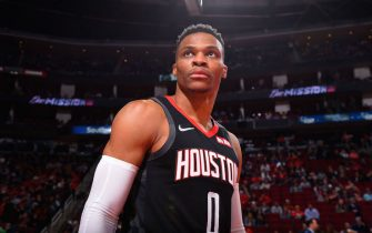 HOUSTON, TX - FEBRUARY 11: Russell Westbrook #0 of the Houston Rockets looks on prior to a game against the Boston Celtics on February 11, 2020 at the Toyota Center in Houston, Texas. NOTE TO USER: User expressly acknowledges and agrees that, by downloading and or using this photograph, User is consenting to the terms and conditions of the Getty Images License Agreement. Mandatory Copyright Notice: Copyright 2020 NBAE (Photo by Bill Baptist/NBAE via Getty Images)