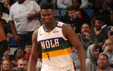 NEW ORLEANS, LA - FEBRUARY 11: Zion Williamson #1 of the New Orleans Pelicans smiles during the game against the Portland Trail Blazers on February 11, 2020 at the Smoothie King Center in New Orleans, Louisiana. NOTE TO USER: User expressly acknowledges and agrees that, by downloading and or using this Photograph, user is consenting to the terms and conditions of the Getty Images License Agreement. Mandatory Copyright Notice: Copyright 2020 NBAE (Photo by Layne Murdoch Jr./NBAE via Getty Images)