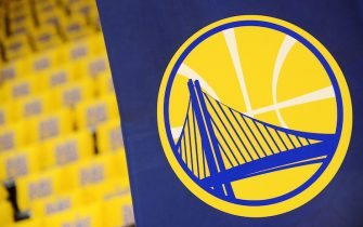 OAKLAND, CA - MAY 16: A close up view of the Golden State Warriors logo before the game against the San Antonio Spurs during Game Two of the Western Conference Finals of the 2017 NBA Playoffs on May 16, 2017 at ORACLE Arena in Oakland, California. NOTE TO USER: User expressly acknowledges and agrees that, by downloading and or using this photograph, user is consenting to the terms and conditions of Getty Images License Agreement. Mandatory Copyright Notice: Copyright 2017 NBAE (Photo by Noah Graham/NBAE via Getty Images)