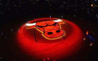 CHICAGO, IL - MAY 10: The Chicago Bulls logo is illuminated during the introductions for Game Three of the Eastern Conference Semifinals against the Miami Heat during the 2013 NBA Playoffs on May 10, 2013 at United Center in Chicago, Illinois. NOTE TO USER: User expressly acknowledges and agrees that, by downloading and or using this photograph, User is consenting to the terms and conditions of the Getty Images License Agreement. Mandatory Copyright Notice: Copyright 2013 NBAE (Photo by Jesse D. Garrabrant/NBAE via Getty Images)