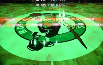 BOSTON, MA - OCTOBER 28:  The Boston Celtics logo on the floor before the game against the Philadelphia 76ers on October 28, 2015 at the TD Garden in Boston, Masachusetts. NOTE TO USER: User expressly acknowledges and agrees that, by downloading and or using this photograph, User is consenting to the terms and conditions of the Getty Images License Agreement. Mandatory Copyright Notice: Copyright 2015 NBAE  (Photo by Brian Babineau/NBAE via Getty Images)
