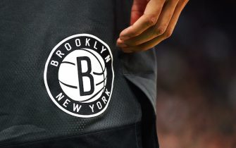 BOSTON, MA - JANUARY 07:  A detailed view of the Brooklyn Nets logo during a game aghast the Boston Celtics at TD Garden on January 7, 2019 in Boston, Massachusetts. NOTE TO USER: User expressly acknowledges and agrees that, by downloading and or using this photograph, User is consenting to the terms and conditions of the Getty Images License Agreement. (Photo by Adam Glanzman/Getty Images)