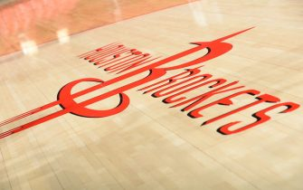 HOUSTON, TX - MAY 25:  The Houston Rockets logo is displayed on the floor of the arena prior to Game Four of the Western Conference Finals against the Golden State Warriors during the 2015 NBA Playoffs on May 25, 2015 at the Toyota Center in Houston, Texas. NOTE TO USER: User expressly acknowledges and agrees that, by downloading and or using this photograph, User is consenting to the terms and conditions of the Getty Images License Agreement. Mandatory Copyright Notice: Copyright 2015 NBAE (Photo by Noah Graham/NBAE via Getty Images)