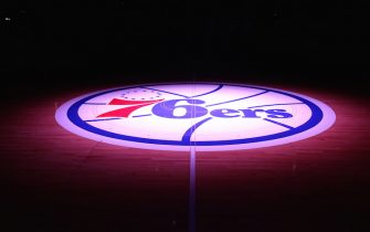 PHILADELPHIA, PA - MARCH 1: 76ers logo during a game at Wells Fargo Center in Philadelphia, PA on March 1, 2014.  NOTE TO USER: User expressly acknowledges and agrees that, by downloading and or using this photograph, User is consenting to the terms and conditions of the Getty Images License Agreement. Mandatory Copyright Notice: Copyright 2014 NBAE  (Photo by Nathaniel S. Butler/NBAE via Getty Images)