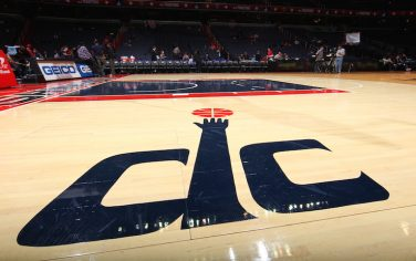 WASHINGTON, DC - DECEMBER 16: A close up of the Washington Wizards logo prior to the game against the Philadelphia 76ers during the preseason game at the Verizon Center on December 16, 2011 in Washington, DC. NOTE TO USER: User expressly acknowledges and agrees that, by downloading and or using this photograph, User is consenting to the terms and conditions of the Getty Images License Agreement. Mandatory Copyright Notice: Copyright 2011 NBAE (Photo by Ned Dishman/NBAE via Getty Images)