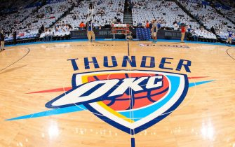OKLAHOMA CITY, OK - MAY 15: The Oklahoma City Thunder logo sits on display on the court before the team played the Memphis Grizzlies in Game Five of the Western Conference Semifinals during the 2013 NBA Playoffs on May 15, 2013 at the Chesapeake Energy Arena in Oklahoma City, Oklahoma. NOTE TO USER: User expressly acknowledges and agrees that, by downloading and or using this Photograph, user is consenting to the terms and conditions of the Getty Images License Agreement. Mandatory Copyright Notice: Copyright 2013 NBAE (Photo by Joe Murphy/NBAE via Getty Images)