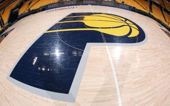 INDIANAPOLIS, IN - APRIL 20:  A view of the Indiana Pacers logo on the floor before the game between Indiana Pacers and Cleveland Cavaliers in Game Three of Round One of the 2018 NBA Playoffs on April 20, 2018 at Bankers Life Fieldhouse in Indianapolis, Indiana. NOTE TO USER: User expressly acknowledges and agrees that, by downloading and or using this Photograph, user is consenting to the terms and conditions of the Getty Images License Agreement. Mandatory Copyright Notice: Copyright 2018 NBAE (Photo by Ron Hoskins/NBAE via Getty Images)