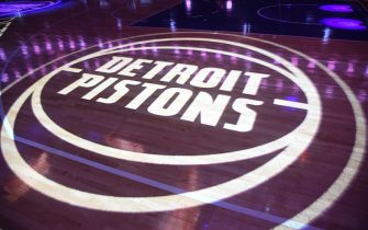 DETROIT, MI - OCTOBER 8:  a general view of the Detroit Pistons logo during the game against the Brooklyn Nets  during a pre-season game on October 8, 2018 at Little Caesars Arena in Detroit, Michigan. NOTE TO USER: User expressly acknowledges and agrees that, by downloading and/or using this photograph, User is consenting to the terms and conditions of the Getty Images License Agreement. Mandatory Copyright Notice: Copyright 2018 NBAE (Photo by Chris Schwegler/NBAE via Getty Images)