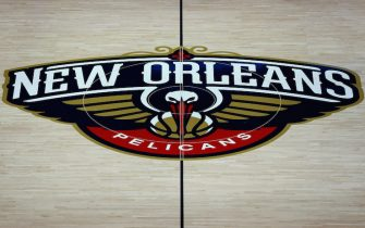 NEW ORLEANS, LOUISIANA - DECEMBER 05:  A general view of the New Orleans Pelicans logo on the court at the Smoothie King Center on December 05, 2018 in New Orleans, Louisiana. NOTE TO USER: User expressly acknowledges and agrees that, by downloading and or using this photograph, User is consenting to the terms and conditions of the Getty Images License Agreement. (Photo by Sean Gardner/Getty Images)