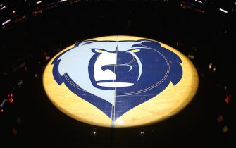 MEMPHIS, TN - DECEMBER 3: A view of the center court logo of the Memphis Grizzlies in the game against the Los Angeles Lakers on December 3, 2016 at FedExForum in Memphis, Tennessee. NOTE TO USER: User expressly acknowledges and agrees that, by downloading and or using this photograph, User is consenting to the terms and conditions of the Getty Images License Agreement. Mandatory Copyright Notice: Copyright 2016 NBAE (Photo by Joe Murphy/NBAE via Getty Images)