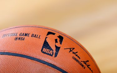 INDIANAPOLIS, IN - NOVEMBER 6: Detail view of official NBA game ball with logo and commissioner Adam Silver signature as the Indiana Pacers play a game against the Miami Heat at Bankers Life Fieldhouse on November 6, 2015 in Indianapolis, Indiana. The Pacers defeated the Heat 90-87. NOTE TO USER: User expressly acknowledges and agrees that, by downloading and or using the photograph, User is consenting to the terms and conditions of the Getty Images License Agreement. (Photo by Joe Robbins/Getty Images)