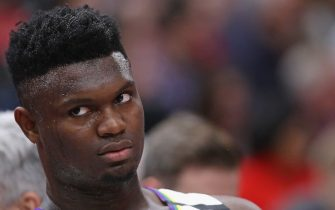 CHICAGO, ILLINOIS - FEBRUARY 06: Zion Williamson #1 of the New Orleans Pelicans watches from the bench as teammates take on the Chicago Bulls at the United Center on February 06, 2020 in Chicago, Illinois. NOTE TO USER: User expressly acknowledges and agrees that, by downloading and or using this photograph, User is consenting to the terms and conditions of the Getty Images License Agreement. (Photo by Jonathan Daniel/Getty Images)