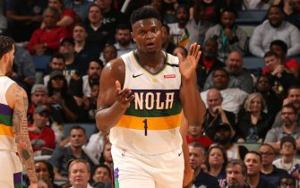 NEW ORLEANS, LA - FEBRUARY 11: Zion Williamson #1 of the New Orleans Pelicans reacts to play during the game against the Portland Trail Blazers on February 11, 2020 at the Smoothie King Center in New Orleans, Louisiana. NOTE TO USER: User expressly acknowledges and agrees that, by downloading and or using this Photograph, user is consenting to the terms and conditions of the Getty Images License Agreement. Mandatory Copyright Notice: Copyright 2020 NBAE (Photo by Layne Murdoch Jr./NBAE via Getty Images)