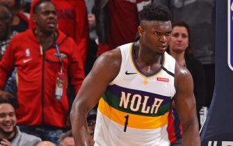 tNEW ORLEANS, LA - FEBRUARY 4: Zion Williamson #1 of the New Orleans Pelicans reacts to play against the Milwaukee Bucks on February 4, 2020 at the Smoothie King Center in New Orleans, Louisiana. NOTE TO USER: User expressly acknowledges and agrees that, by downloading and or using this Photograph, user is consenting to the terms and conditions of the Getty Images License Agreement. Mandatory Copyright Notice: Copyright 2020 NBAE (Photo by Jesse D. Garrabrant/NBAE via Getty Images)