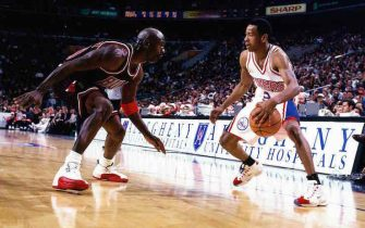 PHILADELPHIA - 1997:  Allen Iverson #3 of the Philadelphia 76ers faces off at the perimeter against Michael Jordan #23 of the Chicago Bulls at the First Union Center during the 1997 NBA season in Philadelphia, Pennsylvania.  NOTE TO USER: User expressly acknowledges and agrees that, by downloading and/or using this Photograph, User is consenting to the terms and conditions of the Getty Images License Agreement  Mandatory Copyright Notice:  Copyright 1997 NBAE  (Photo by Lou Capozzola/NBAE via Getty Images)