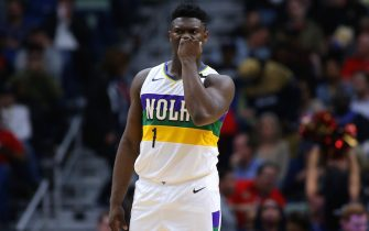 NEW ORLEANS, LOUISIANA - FEBRUARY 04: Zion Williamson #1 of the New Orleans Pelicans reacts against the Milwaukee Bucks during a game at the Smoothie King Center on February 04, 2020 in New Orleans, Louisiana. NOTE TO USER: User expressly acknowledges and agrees that, by downloading and or using this Photograph, user is consenting to the terms and conditions of the Getty Images License Agreement. (Photo by Jonathan Bachman/Getty Images)