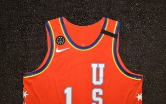 CHICAGO, IL - FEBRUARY 12: The Zion Williamson All Star top during the Uniform Shoot on Wednesday, February 12, 2020 at the United Center in Chicago, Illinois. NOTE TO USER: User expressly acknowledges and agrees that, by downloading and or using this Photograph, user is consenting to the terms and conditions of the Getty Images License Agreement. Mandatory Copyright Notice: Copyright 2020 NBAE (Photo by David Dow/NBAE via Getty Images)