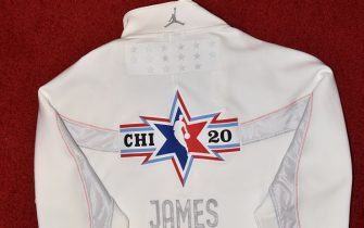 CHICAGO, IL - FEBRUARY 12: The LeBron James warmup All Star jacket during the Uniform Shoot on Wednesday, February 12, 2020 at the United Center in Chicago, Illinois. NOTE TO USER: User expressly acknowledges and agrees that, by downloading and or using this Photograph, user is consenting to the terms and conditions of the Getty Images License Agreement. Mandatory Copyright Notice: Copyright 2020 NBAE (Photo by David Dow/NBAE via Getty Images)