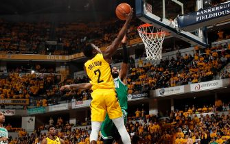 INDIANAPOLIS, IN - APRIL 21: Darren Collison #2 of the Indiana Pacers shoots the ball against the Boston Celtics during Game Four of Round One of the 2019 NBA Playoffs on April 21, 2019 at Bankers Life Fieldhouse in Indianapolis, Indiana. NOTE TO USER: User expressly acknowledges and agrees that, by downloading and or using this photograph, User is consenting to the terms and conditions of the Getty Images License Agreement. Mandatory Copyright Notice: Copyright 2019 NBAE (Photo by Jeff Haynes/NBAE via Getty Images)