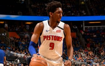 ORLANDO, FL - FEBRUARY 12: Langston Galloway #9 of the Detroit Pistons handles the ball during the game against the Orlando Magic on February 12, 2020 at Amway Center in Orlando, Florida. NOTE TO USER: User expressly acknowledges and agrees that, by downloading and or using this photograph, User is consenting to the terms and conditions of the Getty Images License Agreement. Mandatory Copyright Notice: Copyright 2020 NBAE (Photo by Gary Bassing/NBAE via Getty Images)