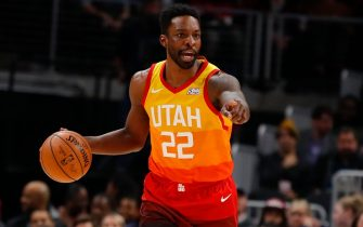 ATLANTA, GA - DECEMBER 19: Jeff Green #22 of the Utah Jazz signals during the second half of an NBA game against the Atlanta Hawks at State Farm Arena on December 19, 2019 in Atlanta, Georgia. NOTE TO USER: User expressly acknowledges and agrees that, by downloading and/or using this photograph, user is consenting to the terms and conditions of the Getty Images License Agreement. (Photo by Todd Kirkland/Getty Images)