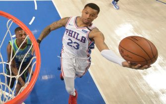 DALLAS, TX - JANUARY 11: Trey Burke #23 of the Philadelphia 76ers drives to the basket during the game against the Dallas Mavericks on January 11, 2020 at the American Airlines Center in Dallas, Texas. NOTE TO USER: User expressly acknowledges and agrees that, by downloading and or using this photograph, User is consenting to the terms and conditions of the Getty Images License Agreement. Mandatory Copyright Notice: Copyright 2020 NBAE (Photo by Glenn James/NBAE via Getty Images)