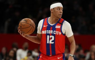 WASHINGTON, DC - JANUARY 20: Tim Frazier #12 of the Detroit Pistons in action against the Washington Wizards during the first half at Capital One Arena on January 20, 2020 in Washington, DC. NOTE TO USER: User expressly acknowledges and agrees that, by downloading and or using this photograph, User is consenting to the terms and conditions of the Getty Images License Agreement. (Photo by Patrick Smith/Getty Images)