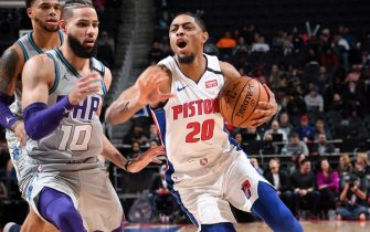 DETROIT, MI - FEBRUARY 10: Brandon Knight #20 of the Detroit Pistons handles the ball against the Charlotte Hornets on February 10, 2020 at Little Caesars Arena in Detroit, Michigan. NOTE TO USER: User expressly acknowledges and agrees that, by downloading and/or using this photograph, User is consenting to the terms and conditions of the Getty Images License Agreement. Mandatory Copyright Notice: Copyright 2020 NBAE (Photo by Chris Schwegler/NBAE via Getty Images)