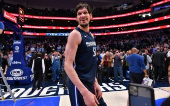 DALLAS, TX - FEBRUARY 12:  Boban Marjanovic #51 of the Dallas Mavericks smiles after the game against the Sacramento Kings on February 12, 2020 at the American Airlines Center in Dallas, Texas. NOTE TO USER: User expressly acknowledges and agrees that, by downloading and or using this photograph, User is consenting to the terms and conditions of the Getty Images License Agreement. Mandatory Copyright Notice: Copyright 2020 NBAE (Photo by Glenn James/NBAE via Getty Images)