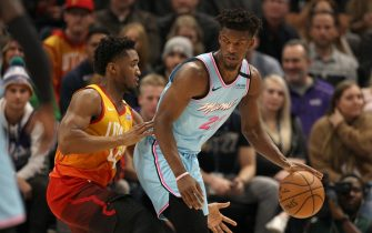 SALT LAKE CITY, UT -  FEBRUARY 12:  Jimmy Butler #22 of the Miami Heat posts up against Donovan Mitchell #45 of the Utah Jazz at Vivint Smart Home Arena on February 12, 2020 in Salt Lake City , Utah. NOTE TO USER: User expressly acknowledges and agrees that, by downloading and or using this photograph, User is consenting to the terms and conditions of the Getty Images License Agreement.(Photo by Chris Gardner/Getty Images)