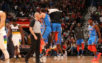 NEW ORLEANS, LA - FEBRUARY 13: Steven Adams #12 of the Oklahoma City Thunder and Dennis Schroder #17 of the Oklahoma City Thunder reacts to hitting the buzzer beater at half against the New Orleans Pelicans on February 13, 2020 at the Smoothie King Center in New Orleans, Louisiana. NOTE TO USER: User expressly acknowledges and agrees that, by downloading and or using this Photograph, user is consenting to the terms and conditions of the Getty Images License Agreement. Mandatory Copyright Notice: Copyright 2020 NBAE (Photo by Layne Murdoch Jr./NBAE via Getty Images)