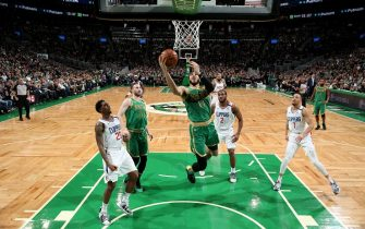 BOSTON, MA -  FEBRUARY 13: Jayson Tatum #0 of the Boston Celtics drives to the basket during a game against the LA Clippers on February 13, 2020 at TD Garden in Boston, MA. NOTE TO USER: User expressly acknowledges and agrees that, by downloading and or using this Photograph, user is consenting to the terms and conditions of the Getty Images License Agreement. Mandatory Copyright Notice: Copyright 2020 NBAE (Photo by Ned Dishman/NBAE via Getty Images)