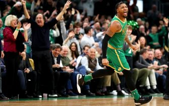 BOSTON, MASSACHUSETTS - FEBRUARY 13: Marcus Smart #36 of the Boston Celtics celebrates after scoring against the LA Clippers at TD Garden on February 13, 2020 in Boston, Massachusetts. The Celtics defeat the Clippers in double overtime 141-133. (Photo by Maddie Meyer/Getty Images)