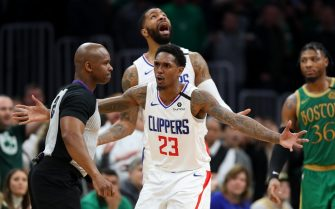 BOSTON, MASSACHUSETTS - FEBRUARY 13: Lou Williams #23 of the LA Clippers disputes a foul call during the game \aghh\ at TD Garden on February 13, 2020 in Boston, Massachusetts. The Celtics defeat the Clippers in double overtime 141-133. (Photo by Maddie Meyer/Getty Images)