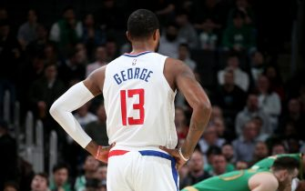 BOSTON, MA - FEBRUARY 13: Paul George #13 of the LA Clippers looks on during a game against the Boston Celtics on February 13, 2020 at TD Garden in Boston, MA. NOTE TO USER: User expressly acknowledges and agrees that, by downloading and or using this Photograph, user is consenting to the terms and conditions of the Getty Images License Agreement. Mandatory Copyright Notice: Copyright 2020 NBAE (Photo by Ned Dishman/NBAE via Getty Images)
