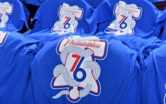 PHILADELPHIA, PA - APRIL 13: A close-up view of shirts that are laid out for the fans prior to a game between the Brooklyn Nets and the Philadelphia 76ers before Game One of Round One of the 2019 NBA Playoffs on April 13, 2019 at the Wells Fargo Center in Philadelphia, Pennsylvania NOTE TO USER: User expressly acknowledges and agrees that, by downloading and/or using this Photograph, user is consenting to the terms and conditions of the Getty Images License Agreement. Mandatory Copyright Notice: Copyright 2019 NBAE (Photo by Jesse D. Garrabrant/NBAE via Getty Images)
