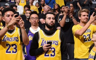 LOS ANGELES, CA - OCTOBER 2:  Los Angeles Lakers fan is photographed during a pre-season game on October 2, 2018 at STAPLES Center in Los Angeles, California. NOTE TO USER: User expressly acknowledges and agrees that, by downloading and/or using this Photograph, user is consenting to the terms and conditions of the Getty Images License Agreement. Mandatory Copyright Notice: Copyright 2018 NBAE (Photo by Andrew D. Bernstein/NBAE via Getty Images)