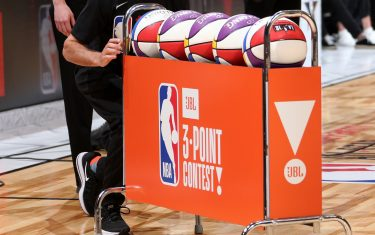 LOS ANGELES, CA - FEBRUARY 17:   The official money ball of the JBL Three-Point Contest during State Farm All-Star Saturday Night as part of the 2018 NBA All-Star Weekend on February 17, 2018 at STAPLES Center in Los Angeles, California. NOTE TO USER: User expressly acknowledges and agrees that, by downloading and/or using this photograph, user is consenting to the terms and conditions of the Getty Images License Agreement.  Mandatory Copyright Notice: Copyright 2017 NBAE (Photo by Nathaniel S. Butler/NBAE via Getty Images)