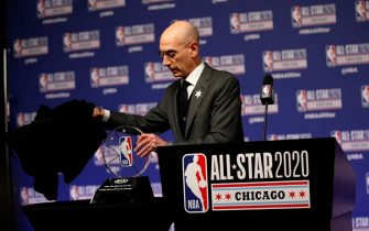CHICAGO, IL - FEBRUARY 15:  NBA Commissioner Adam Silver announces NBA All-Star Game MVP Trophy will honor Kobe Bryant during NBA All-Star Saturday Night Presented by State Farm as part of 2020 NBA All-Star Weekend on February 15, 2020 at United Center in Chicago, Illinois. NOTE TO USER: User expressly acknowledges and agrees that, by downloading and/or using this Photograph, user is consenting to the terms and conditions of the Getty Images License Agreement. Mandatory Copyright Notice: Copyright 2020 NBAE (Photo by Jeff Haynes/NBAE via Getty Images)