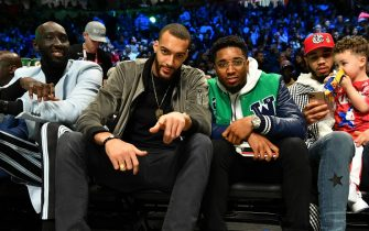CHICAGO, IL - FEBRUARY 15: Utah Jazz players, Rudy Gobert and Donovan Mitchell watch the 2020 NBA All-Star - MTN DEW 3-Point Contest on February 15, 2020 at the United Center in Chicago, Illinois. NOTE TO USER: User expressly acknowledges and agrees that, by downloading and or using this photograph, User is consenting to the terms and conditions of the Getty Images License Agreement. Mandatory Copyright Notice: Copyright 2020 NBAE (Photo by Jesse D. Garrabrant/NBAE via Getty Images)