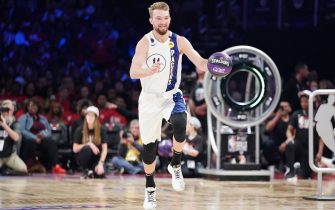 CHICAGO, IL - FEBRUARY 15: Domantas Sabonis #11 of the Indiana Pacers participates in the 2020 NBA All-Star - Taco Bell Skills Challenge on February 15, 2020 at the United Center in Chicago, Illinois. NOTE TO USER: User expressly acknowledges and agrees that, by downloading and or using this photograph, User is consenting to the terms and conditions of the Getty Images License Agreement. Mandatory Copyright Notice: Copyright 2020 NBAE (Photo by Jesse D. Garrabrant/NBAE via Getty Images)
