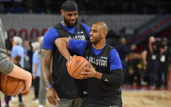 CHICAGO, IL - FEBRUARY 15: LeBron James and Chris Paul of Team LeBron talk during Practice and Media Availability presented by AT&T as part of 2020 NBA All-Star Weekend on February 15, 2020 at Wintrust Arena in Chicago, Illinois. NOTE TO USER: User expressly acknowledges and agrees that, by downloading and/or using this Photograph, user is consenting to the terms and conditions of the Getty Images License Agreement. Mandatory Copyright Notice: Copyright 2020 NBAE (Photo by Juan Ocampo/NBAE via Getty Images)