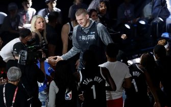 CHICAGO, ILLINOIS - FEBRUARY 15: Nikola Jokic of the Denver Nuggets is introduced during 2020 NBA All-Star - Practice & Media Day at Wintrust Arena on February 15, 2020 in Chicago, Illinois. NOTE TO USER: User expressly acknowledges and agrees that, by downloading and or using this photograph, User is consenting to the terms and conditions of the Getty Images License Agreement. (Photo by Jonathan Daniel/Getty Images)