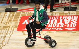 CHICAGO, IL - FEBRUARY 15: Donovan Mitchell #45 of the Utah Jazz rides a bike during the 2020 NBA All-Star - Taco Bell Skills Challenge on February 15, 2020 at the United Center in Chicago, Illinois. NOTE TO USER: User expressly acknowledges and agrees that, by downloading and or using this photograph, User is consenting to the terms and conditions of the Getty Images License Agreement. Mandatory Copyright Notice: Copyright 2020 NBAE (Photo by Joe Murphy/NBAE via Getty Images)
