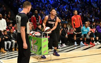 CHICAGO, IL - FEBRUARY 15: Devin Booker #1 of the Phoenix Suns participates in the 2020 NBA All-Star - MTN DEW 3-Point Contest on February 15, 2020 at the United Center in Chicago, Illinois. NOTE TO USER: User expressly acknowledges and agrees that, by downloading and or using this photograph, User is consenting to the terms and conditions of the Getty Images License Agreement. Mandatory Copyright Notice: Copyright 2020 NBAE (Photo by Jesse D. Garrabrant/NBAE via Getty Images)