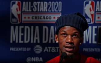 CHICAGO, IL - FEBRUARY 15: Jimmy Butler #22 of the Miami Heat talks to the media during Practice and Media Availability presented by AT&T as part of 2020 NBA All-Star Weekend on February 15, 2020 at Wintrust Arena in Chicago, Illinois. NOTE TO USER: User expressly acknowledges and agrees that, by downloading and/or using this Photograph, user is consenting to the terms and conditions of the Getty Images License Agreement. Mandatory Copyright Notice: Copyright 2020 NBAE (Photo by Jeff Haynes/NBAE via Getty Images)