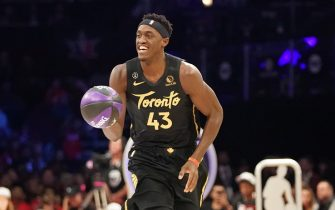 CHICAGO, IL - FEBRUARY 15: Pascal Siakam #43 of the Toronto Raptors participates in the 2020 NBA All-Star - Taco Bell Skills Challenge on February 15, 2020 at the United Center in Chicago, Illinois. NOTE TO USER: User expressly acknowledges and agrees that, by downloading and or using this photograph, User is consenting to the terms and conditions of the Getty Images License Agreement. Mandatory Copyright Notice: Copyright 2020 NBAE (Photo by Jesse D. Garrabrant/NBAE via Getty Images)